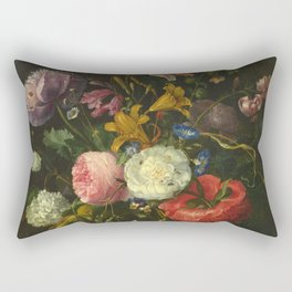 Jacob Van Walscappelle - Flowers In A Glass Vase Rectangular Pillow