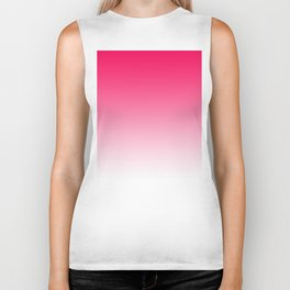 Modern bright simple neon pink white color ombre gradient Biker Tank