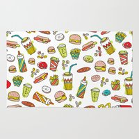 junk food Area & Throw Rugs featuring Awesome retro junk food icons by Little Smilemakers Studio