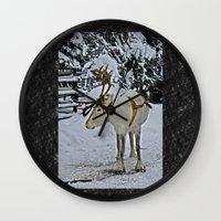 finland Wall Clocks featuring Reindeer in Lapland Finland by Guna Andersone & Mario Raats - G&M Studi