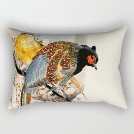 Pheasants on tree - Japanese woodblock print Rectangular Pillow