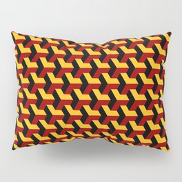 Barcelona 3d geometric pattern in yellow, red and black Pillow Sham