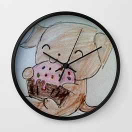 Cute Puppy with Cupcake Wall Clock