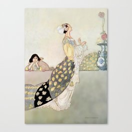 """Nightingale and Rose"" Fairy Art by Charles Robinson Canvas Print"