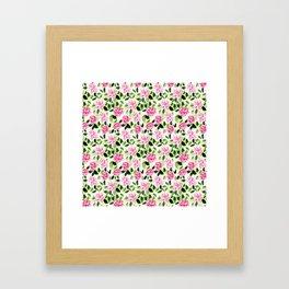 Pink and Green Garden Floral Pattern Framed Art Print