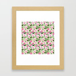 Pink and Green Garden Floral Pattern Framed Art Print