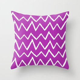 Hand-Drawn Zig Zag (White & Purple Pattern) Throw Pillow