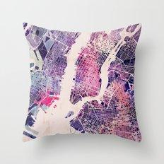 New York Mosaic Map #1 Throw Pillow
