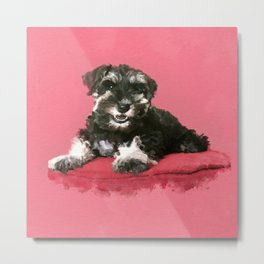 Miniature Schnauzer Puppy Watercolor Digital Art Metal Print