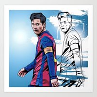 messi Art Prints featuring Messi by FootyDezigns