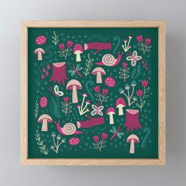 Green Mushroom Field Pattern Framed Mini Art Print