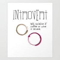 introvert Art Prints featuring Introvert by Denise Hayes