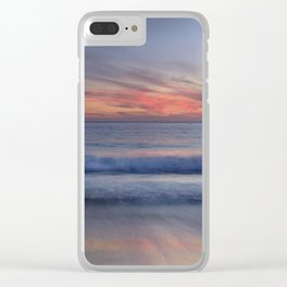 Magical Waves. Square.  Tarifa Beach At Red Sunset Clear iPhone Case