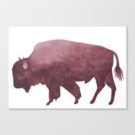 Dusty Rose Watercolor Bison Canvas Print
