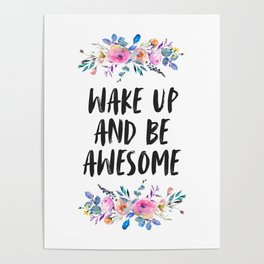 Wake Up And Be Awesome, Printable Quote, Home Decor, Motivational Art Poster