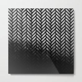 Textured Silver-grey and black Herringbone ombre - Japanese pattern Metal Print