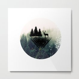 DEER IN THE GREEN FOREST Metal Print