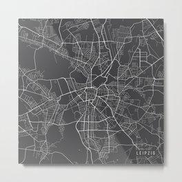 Leipzig Map, Germany - Gray Metal Print
