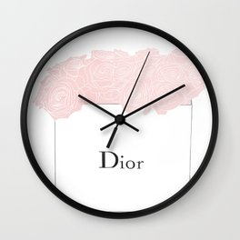shopping bag with pink flowers Wall Clock