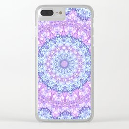 Beautiful Rose Blue Pastel Flower Mandala Clear iPhone Case