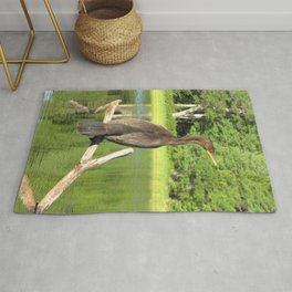 Watercolor Bird, Cormorant 04, Kejimkujik, Nova Scotia, Canada Rug