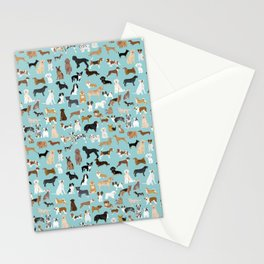 Dogs pattern print must have gifts for dog person mint dog breeds Stationery Cards
