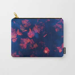Rusty red falling leaves in dark blue water Carry-All Pouch