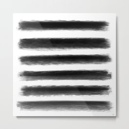 Black Brushstrokes Metal Print