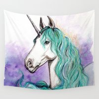 unicorn Wall Tapestries featuring Unicorn by Pendientera