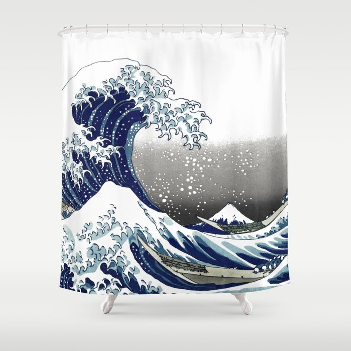 Vintage Great Waves at Kanagawa by Hokusai Shower Curtain