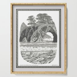 SEASIDE ARCH, BISHOP PINE, AND DRIFTWOOD VINTAGE PEN DRAWING Serving Tray