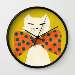 Cat with incredebly oversized humongous bowtie Wall Clock
