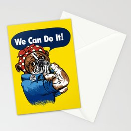 We Can Do It English Bulldog Stationery Cards