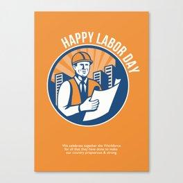 Labor Day Celebration Poster Retro Canvas Print