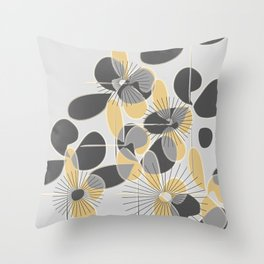 Retro Petals Throw Pillow