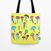 mushrooms Tote Bags featuring Mushrooms  by Ashley Percival illustration