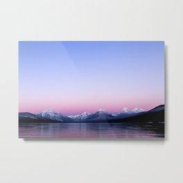 pastel mountain lake sunset Metal Print