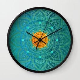 """Turquoise and Gold Mandala"" Wall Clock"