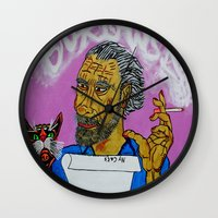 bukowski Wall Clocks featuring Bukowski by Pluto00Art / Robin Brennan