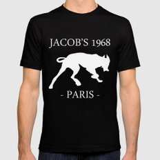 White Dog Jacob's 1968 fashion Paris Mens Fitted Tee Black MEDIUM