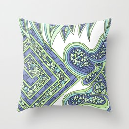Wandering Abstract Line Art 47: Green Throw Pillow