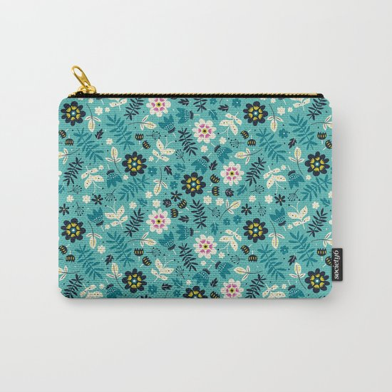 Fresh Blossoms (Greens) Carry-All Pouch