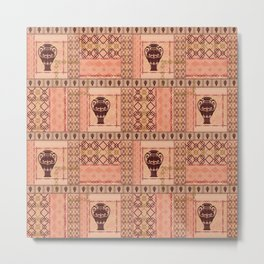 Ethnic pattern with an amphora, ornament, beige background. Metal Print