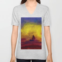 Sailboat and Red Sunset nautical landscape painting by Emil Nolde Unisex V-Neck