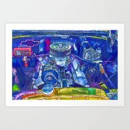 A View of a Motor Car Engine Art Print