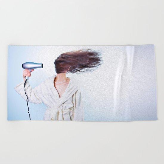hair comic wind 4 Beach Towel