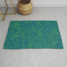 Clockwork Turquoise & Lime / Cogs and clockwork parts lineart pattern Rug