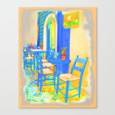Greek Coffee Place Gold and Blue Canvas Print