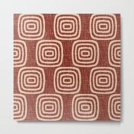Mid Century Modern Mudcloth Concentric Pattern 767 Sienna Metal Print