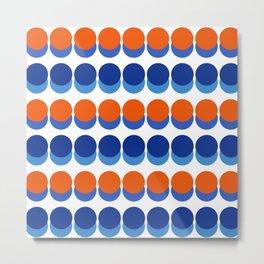 Vibrant Blue and Orange Dots Metal Print